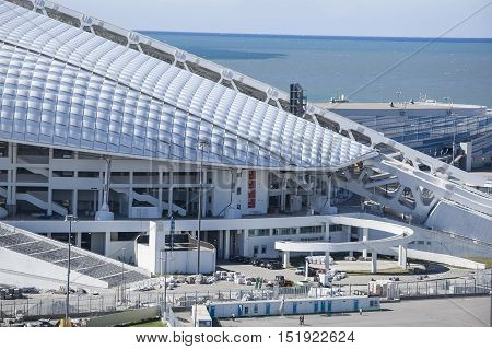 Sochi, Russia - September 24: Bolshoy Ice Dome and football stadium Fischt at the Park preparing for the soccer World Cup 2018 on September 24, 2016