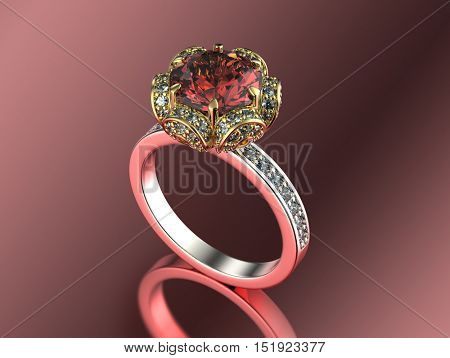 3D illustration of gold Ring with Diamond. Jewelry background. Fashion accessory. Garnet. Ruby