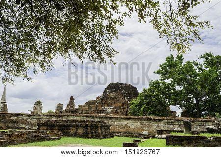 Old Beautiful Thai Temple Wat Mahathat, Ayutthaya Historical Park, Ayutthaya, Thailand