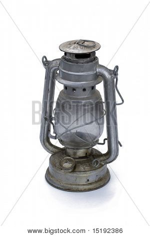 old oil lamp isolated on white