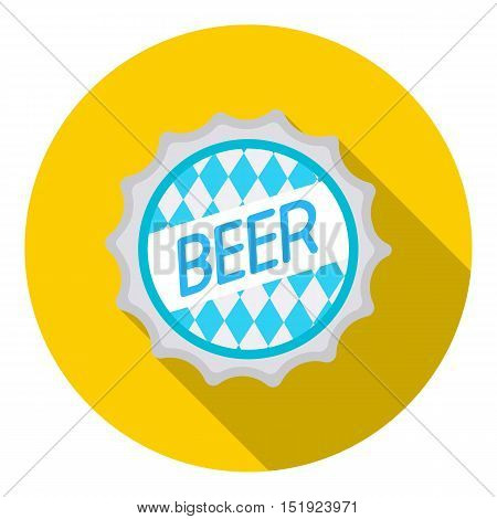 Bottle cap icon in flat style isolated on white background. Oktoberfest symbol vector illustration.