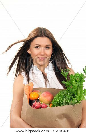 Woman Holding Grocery Bag Fresh Food Items.