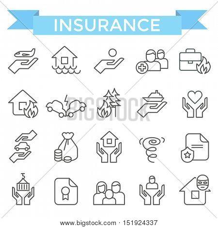 Insurance icons, thin line flat design