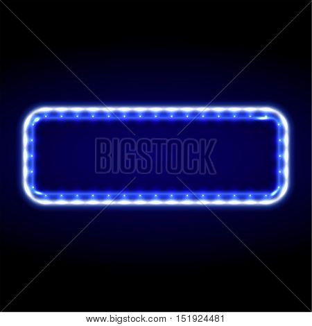 The neon blue frame with LED illumination in a retro style. The shining billboard with the place for the text. The vectorial burning template in ancient style. A rectangular sign with lamps.