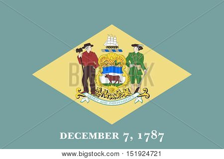 Delawarean official flag symbol. American patriotic element. USA banner. United States of America background. Flag of the US state of Delaware in correct size and colors illustration