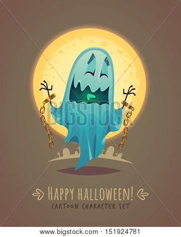 Funny ghost in scary posture. Halloween cartoon character concept. Vector illustration.