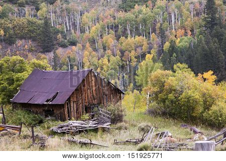 A rustic barn in the Rocky Mountains of Colorado