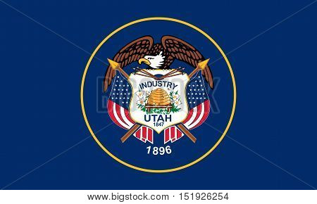 Utahn official flag symbol. American patriotic element. USA banner. United States of America background. Flag of the US state of Utah in correct size and colors illustration