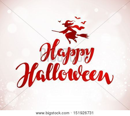 Happy Halloween. Beautiful handwritten lettering. Vector illustration