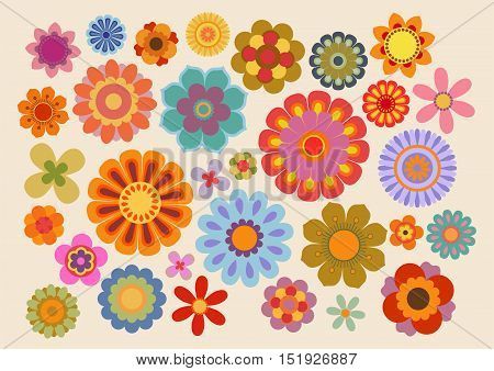 Vector illustration of the flowers design and colors during the sixties and the seventies (part 5)