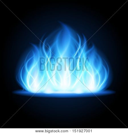 Abstract fire flame light on black background vector illustration. Burning flames translucent elements special glowing effect.