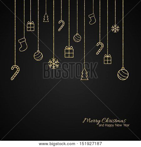 Christmas background . Flat Christmas greeting card with gold baubles, snowflakes and candy cane, tree, gift icons. Black background