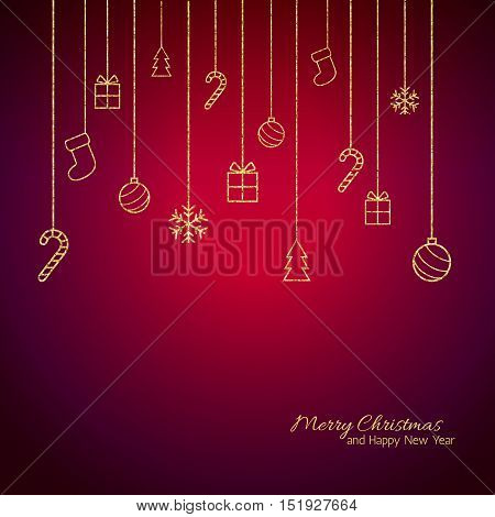 Christmas background . Flat Christmas greeting card with gold baubles, snowflakes and candy cane, tree, gift icons. Red background