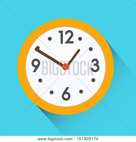 Yellow round clock on blue background. Isolated flat vector icon with long shadow