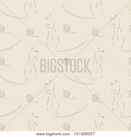 Seamless vector pattern with cat and clew. Abstract silhouette of a cat in the form of lines.