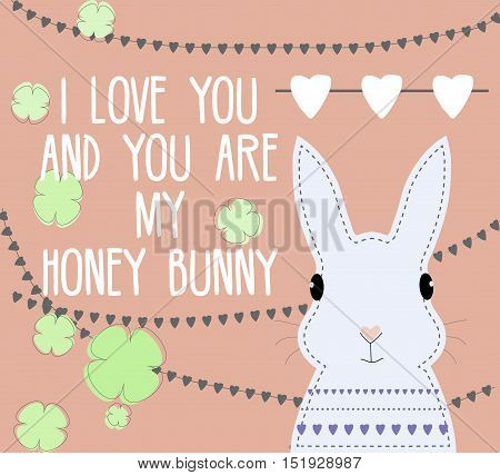 Romantic card with sweet honey bunny character and love text. For Valentines day and romantic design