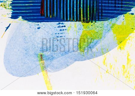 Abstract hand painted yellow and blue acrylic art background