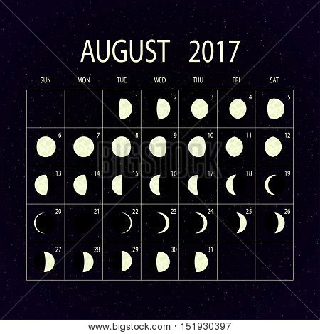 Moon phases calendar for 2017 on night sky. August. Vector illustration.