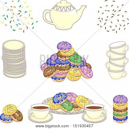 Set of culinary color pictures with donuts. Cups, plates, pile of donuts, teapot, chocolate chips. Vector illustration.