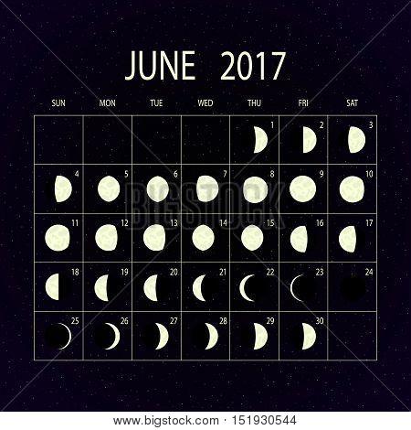 Moon phases calendar for 2017 on night sky. June. Vector illustration.