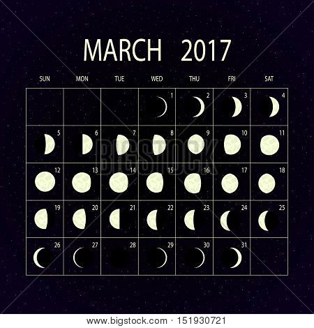 Moon phases calendar for 2017 on night sky. March. Vector illustration.
