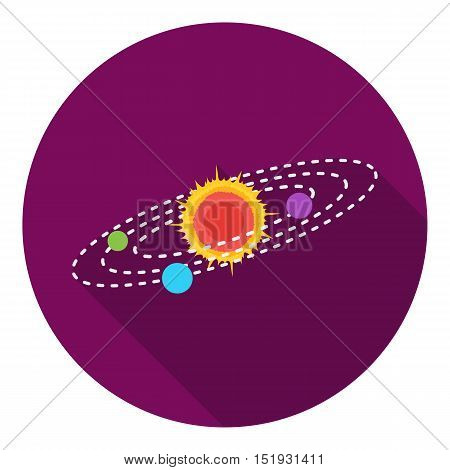 Solar system icon in flat style isolated on white background. Space symbol vector illustration.