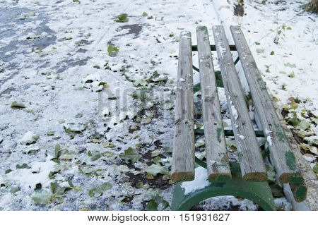 First snow on a bench and fallen leaves in the Park.
