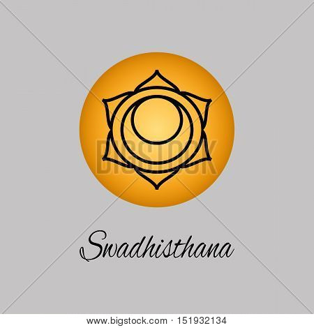 Swadhisthana.Sacral Chakra. The symbol of the second human chakra.Vector illustration. Element human energy system. Yogameditationreiki and buddhism color simbol.