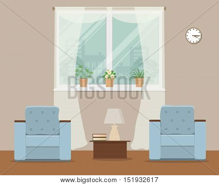 Living room in beige color. Vector flat illustration. There is a two blue armchairs, a window, a lamp and other objects in the picture. There are pots with flowers on a windowsill