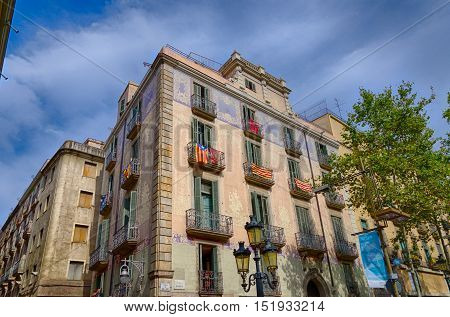 Decorative house on Rambla street in Barcelona, summer Spain