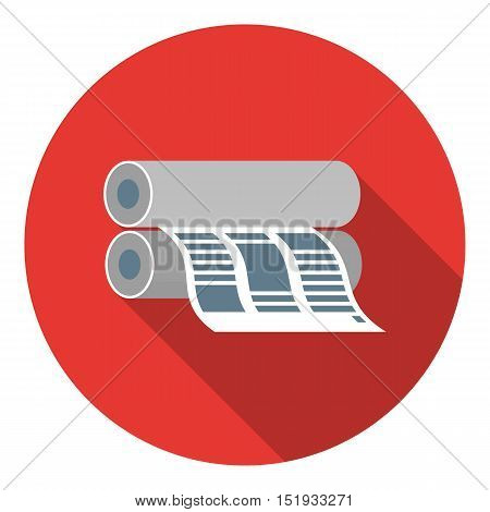 Newspaper printing machine in flat style isolated on white background. Typography symbol vector illustration.