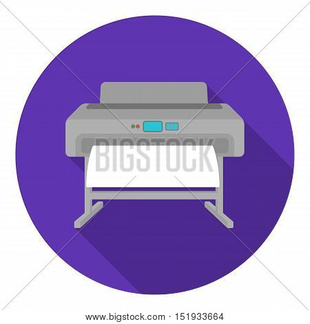 Large format printer icon in flat style isolated on white background. Typography symbol vector illustration.