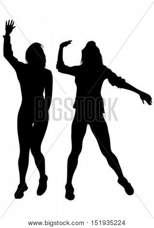 Beautiful girl dancing on a white background