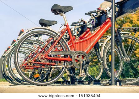 Red bicycles lined up on the road - Detail of wheels at bycicle sharing point - Modern concept of ecological transportation - Bike urban transport