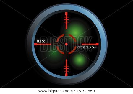 vector of a rifle scope sight in nightview