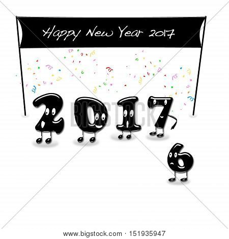 Animated Numerals Of 2017 Year Congratulating With New Year.