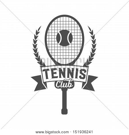 Tennis badge logotype template. Club emblem, college league logo, one color design elements, sport tournament, contest, tug, rush, competition