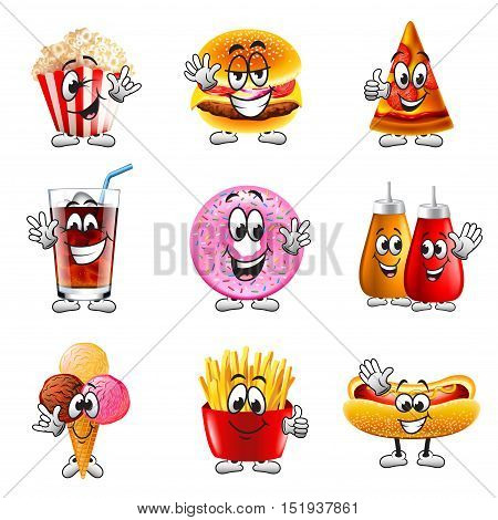 Funny cartoon fastfood icons detailed realistic vector set