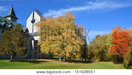 SAINT BENOIT DU LAC CANADA 10 15 16:  Saint Benedict Abbey in Saint-Benoit-du-Lac, Quebec, Canada is an Abbey was founded in 1912 by the exiled of St. Wandrille, France under Abbot Dom Joseph Pothier
