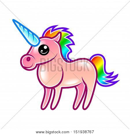 Cute cartoon unicorn isolated on white vector illustration