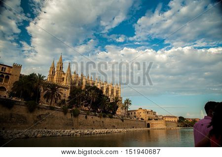 Cathedral of Palma de Mallorca. Big gothic church on the sea shore. Beautiful travel picture of Spain.