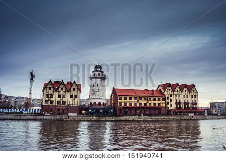 Fishing Village - ethnographic and trading-craft center in Kaliningrad. A famous klandmark in the city with buildings in the German style