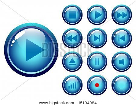glossy buttons audio-video media controller - vector illustration