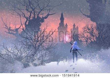 knight with trident in winter landscape, illustration painting
