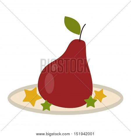 Fresh per icon organic food. Fresh sweet pear vegetarian organic fruit agriculture. Pear isolated on white