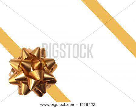 Gold Gift Ribbon Over White