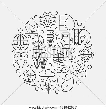 Ecological vector concept. Round thin line ecology symbol. Save the planet creative illustration