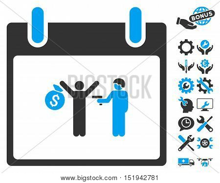 Arrest Calendar Day pictograph with bonus settings pictures. Vector illustration style is flat iconic symbols, blue and gray, white background.