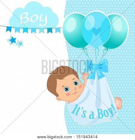 Baby Boy Shower Card Vector Illustration. Baby Shower Invitation