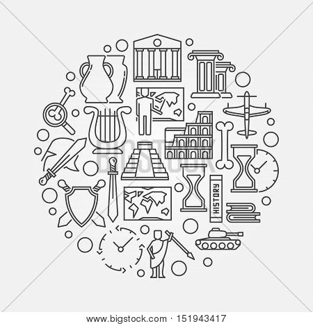 History vector symbol. Round history minimal sign made with thin line icons